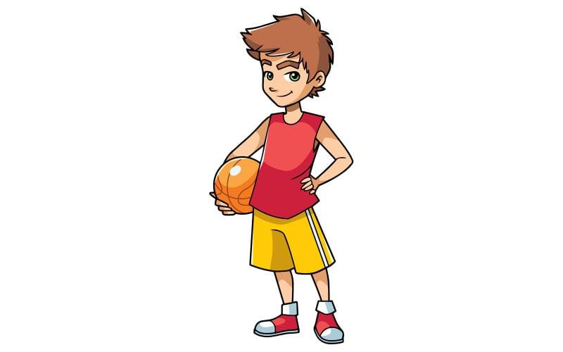 Chłopiec koszykówki na białym tle - ilustracja