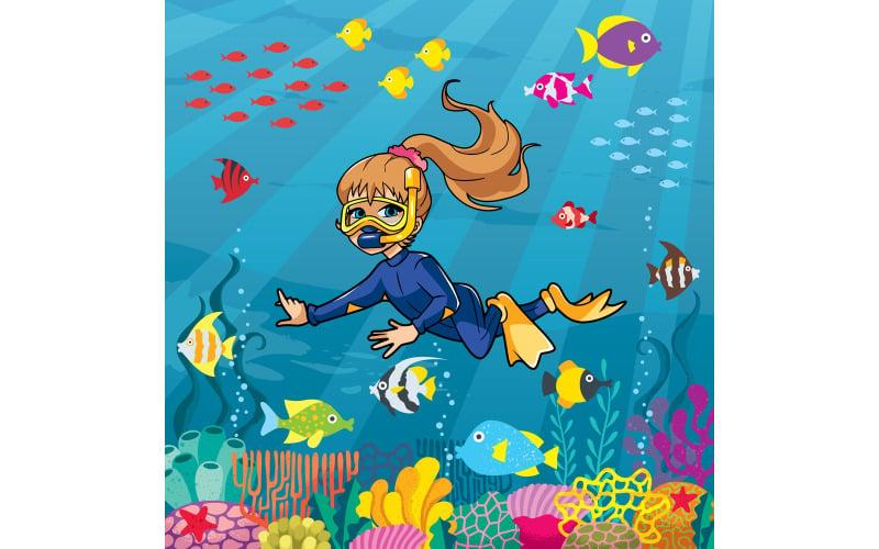 Дайвер девушка под водой - Иллюстрация