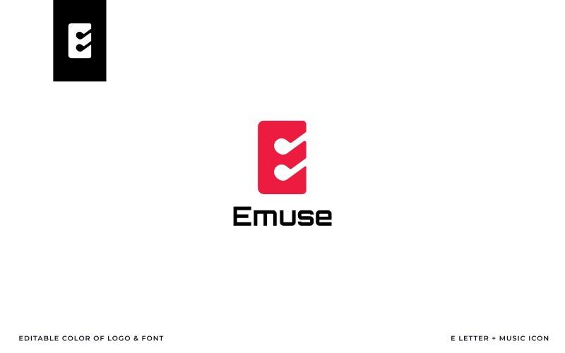 Emuse (E betű + zene ikon) embléma sablon