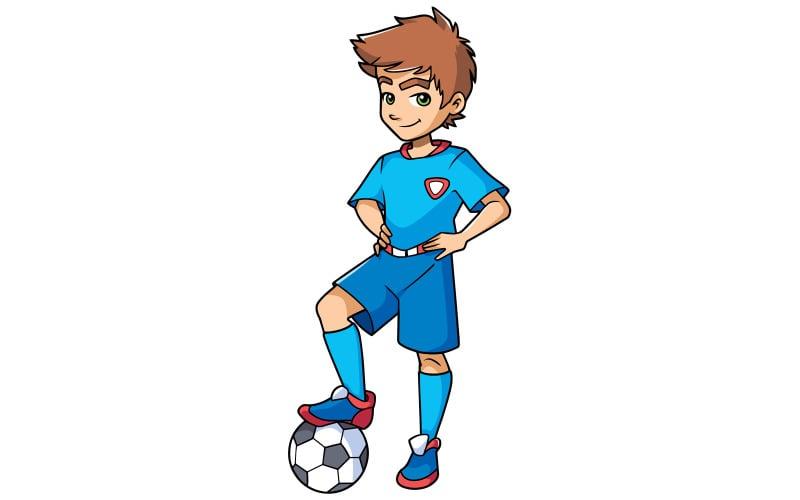 Футболист мальчик стоял - Иллюстрация
