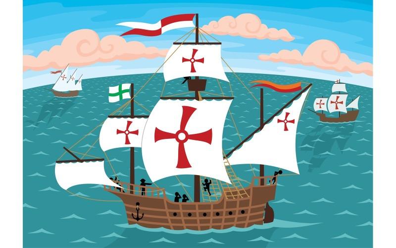 Корабли Колумба - Иллюстрация