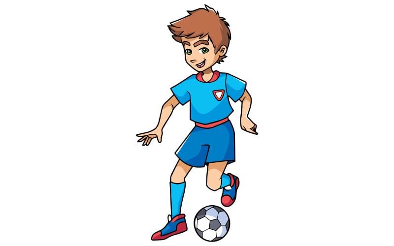 Мальчик играет в футбол - Иллюстрация