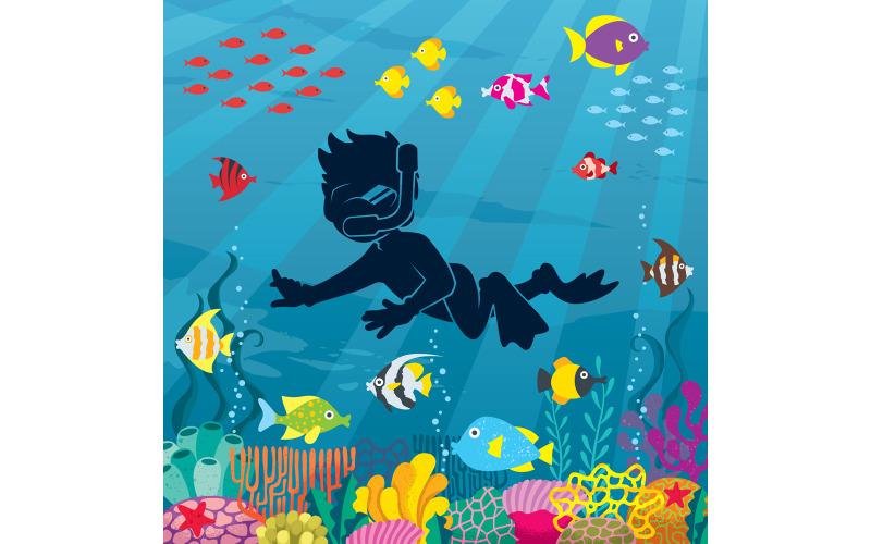 Подводный мальчик-дайвер 3 - Иллюстрация