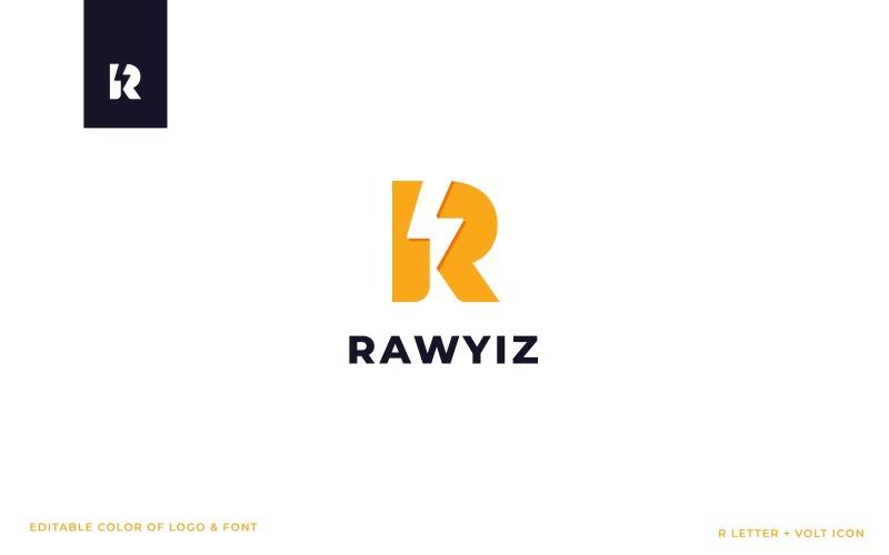 Шаблон логотипа RAWYIZ (буква R + значок напряжения)