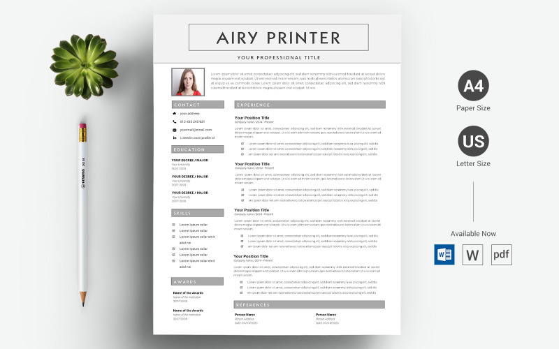 Airy Printer - шаблон резюме