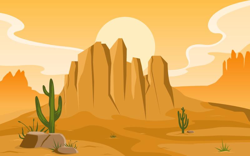 Американская пустыня с пейзажем горизонта кактусов - Иллюстрация