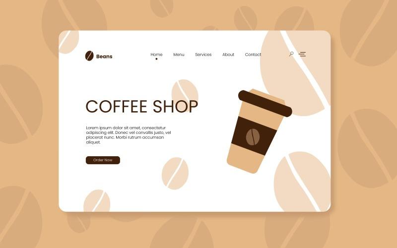 Coffee Shop Landing Page Design - Vector Image