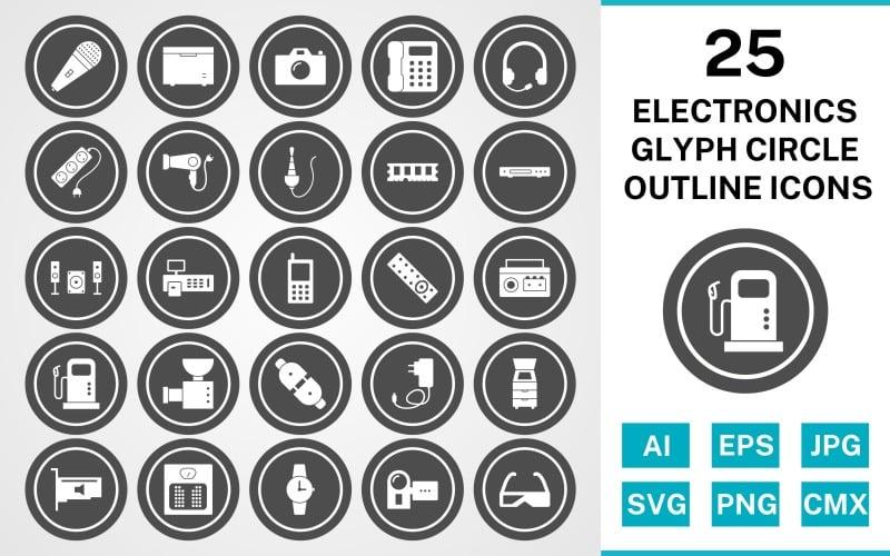 Набор иконок 25 электронных устройств Glyph Circle Outline