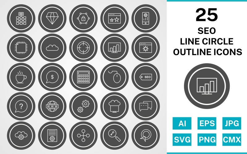 Набор иконок 25 Seo Line Circle Outline