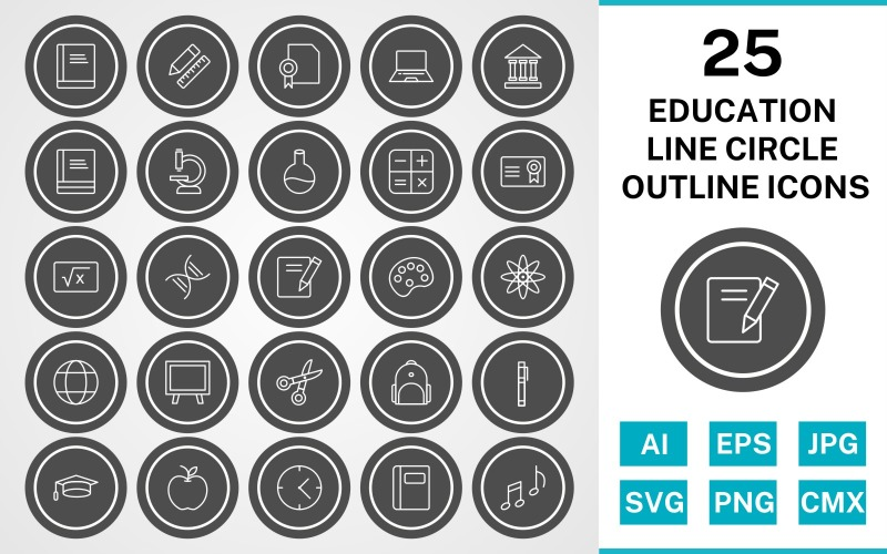 25 образовательных линий круга наброски значок набор