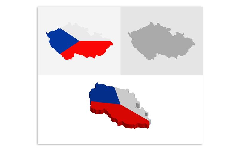 Трехмерная и плоская карта Чешской Республики - векторное изображение