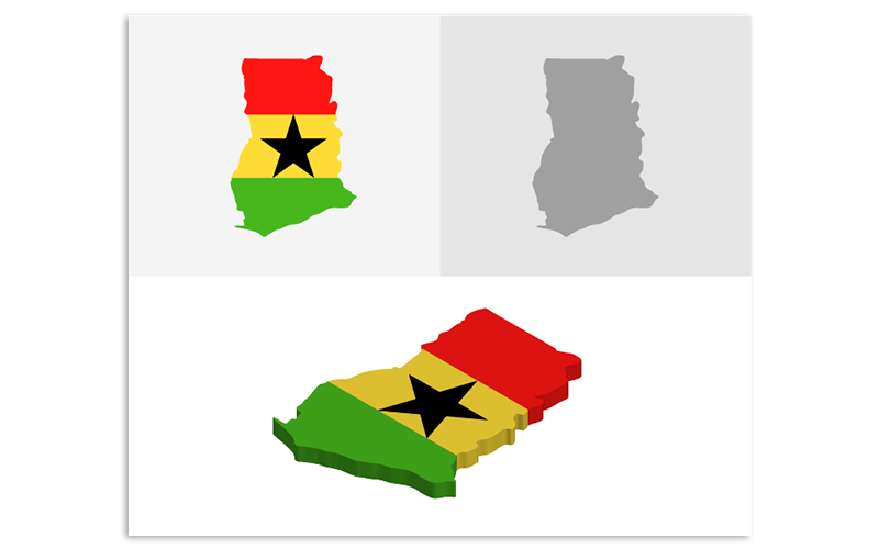 Трехмерная и плоская карта Ганы - векторное изображение