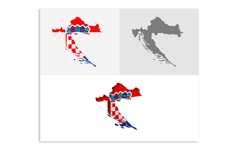 Трехмерная и плоская карта Хорватии - векторное изображение