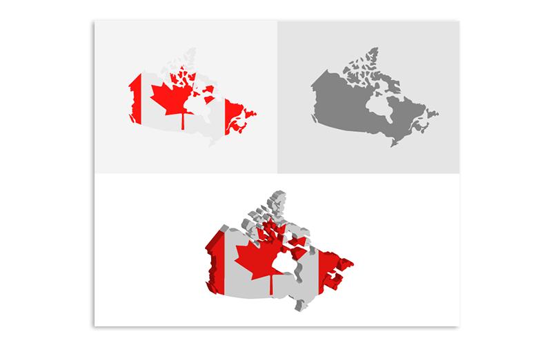 Трехмерная и плоская карта Канады - векторное изображение