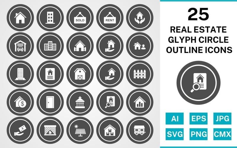 25 набор иконок наброски круга глифов недвижимости