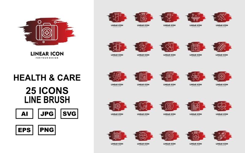 Набор из 25 кистей Premium Health And Care Line Brush Pack Icon Set