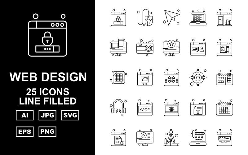 Набор из 25 линейных иконок премиум-класса для веб-дизайна и разработки
