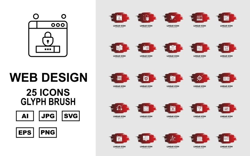 25 премиальных наборов кистей для веб-дизайна и разработки Glyph Brush Pack Icon Set