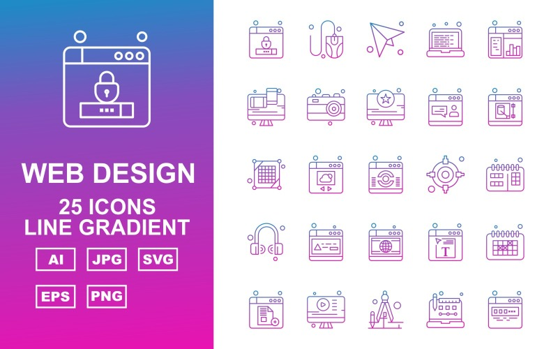 25 премиум веб-дизайна и разработки Blue Line Gradient Pack Icon Set