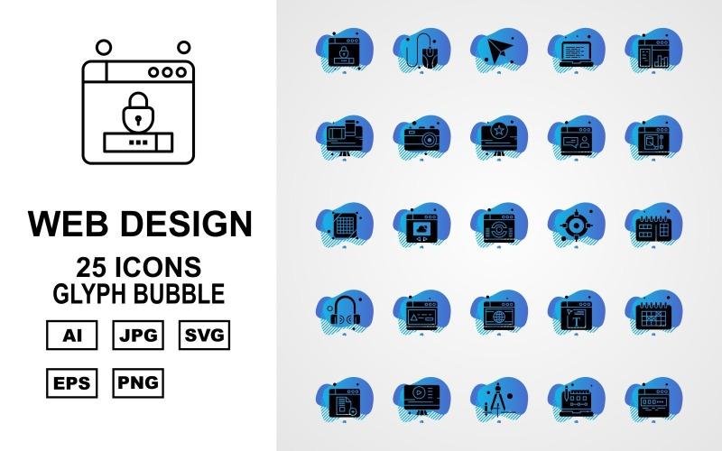 25 премиум веб-дизайна и разработки Glyph Bubble Pack Icon Set