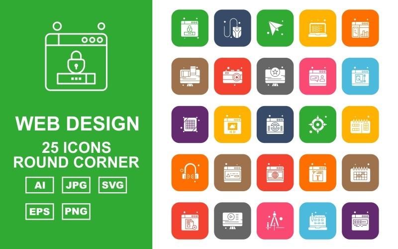 25 премиум веб-дизайна и разработки Round Corner Pack Icon Set
