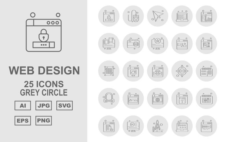 25 премиум веб-дизайна и разработки серый круг набор иконок