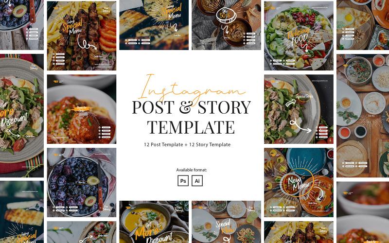 Шаблон поста и истории ресторана в Instagram для социальных сетей