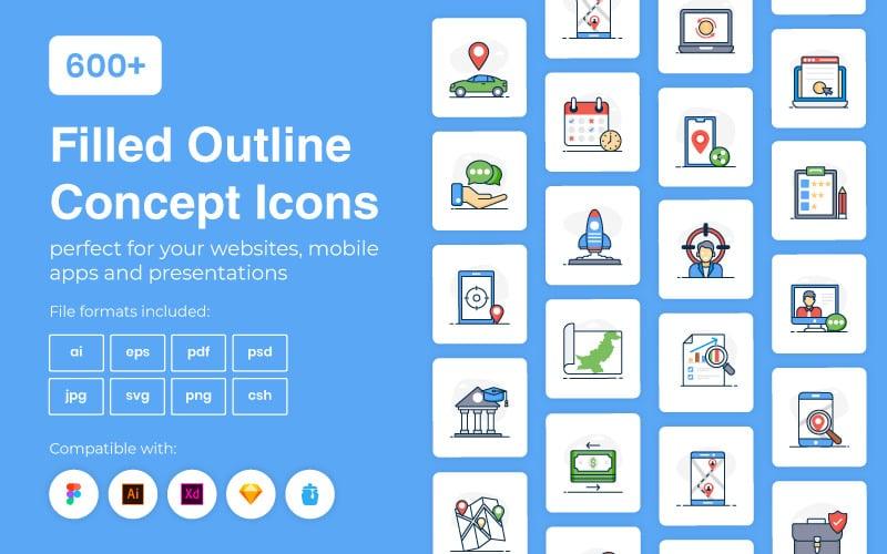 600+ концептуальных иконок с закрашенными контурами