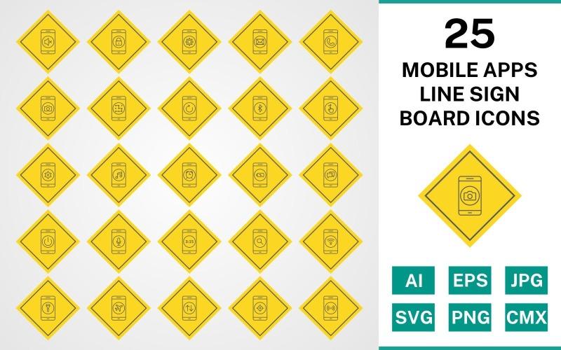 Набор иконок 25 мобильных приложений Line Sign Board