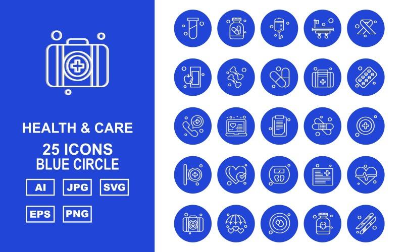 Набор иконок 25 Premium Health And Care Blue Circle Pack