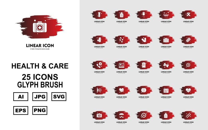 Набор иконок 25 Premium Health And Care Glyph Brush Pack Icon Set