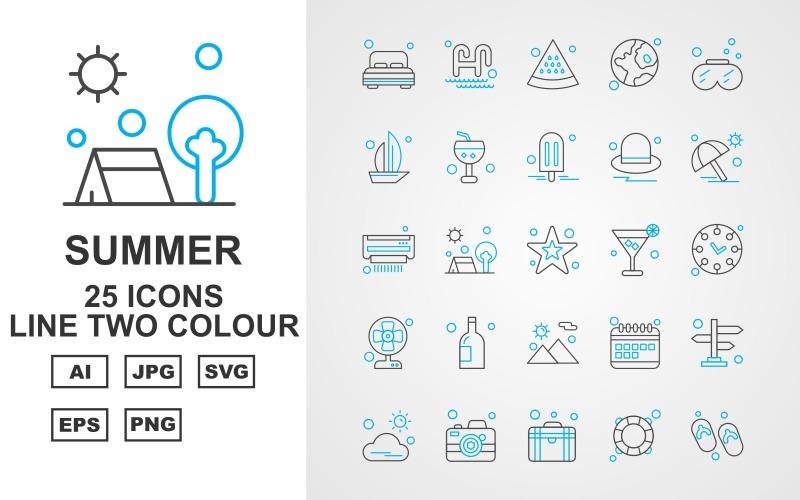Набор иконок 25 Premium Summer II Line из двух цветов