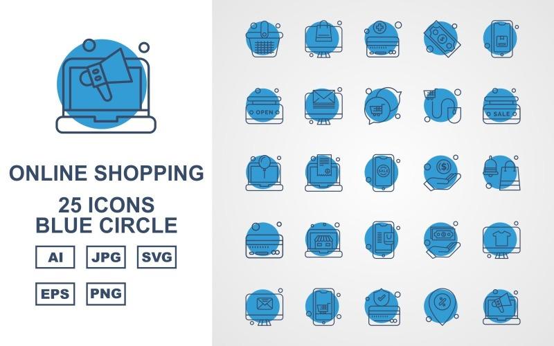 25 премиальных интернет-магазинов Blue Circle Pack Icon Set