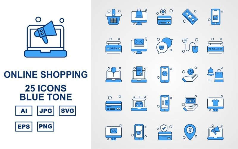 25 премиальных интернет-магазинов Blue Tone Pack Icon Set