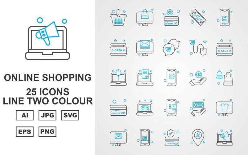25 премиальных интернет-магазинов Line Two Color Pack Icon Set