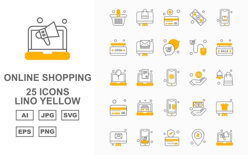 25 премиальных интернет-магазинов Lino Yellow Pack Icon Set