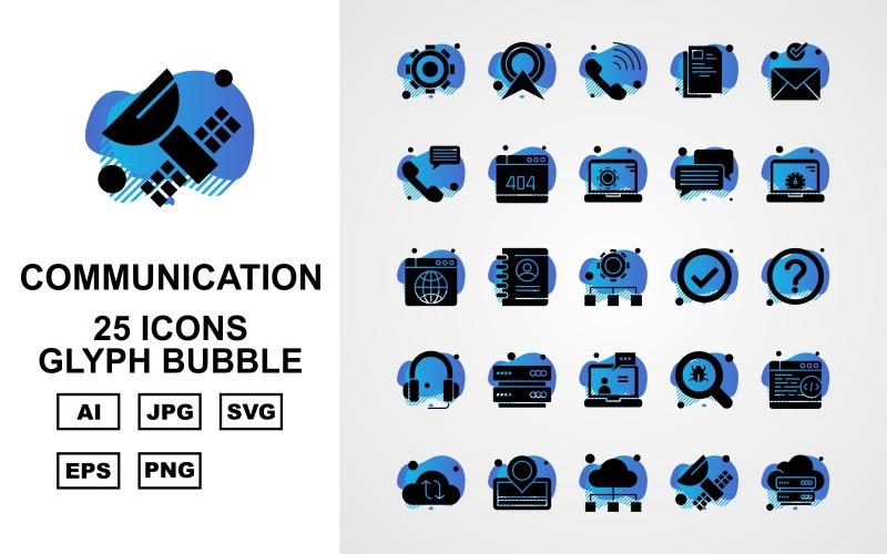 25 премиальных сетей и коммуникаций Glyph Bubble Pack Icon Set