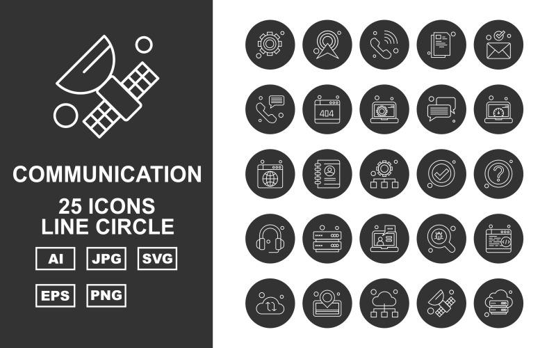 25 премиальных сетей и коммуникационных линий Circle Pack Icon Set