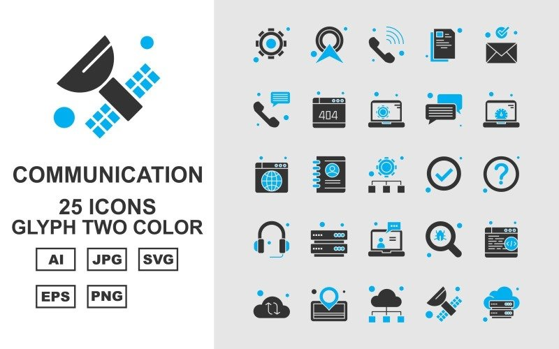 25 премиальных сетевых и коммуникационных символов двухцветный пакет иконок