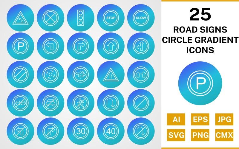 25 дорожных знаков круг градиент значок набор