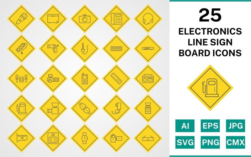 25 электронных устройств Line Sign Board Icon Set