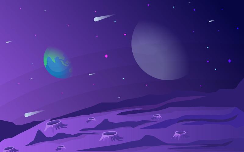 Космическая поверхность планеты - Иллюстрация