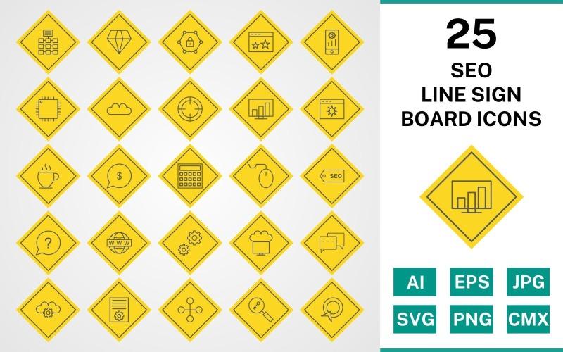 Набор иконок 25 Seo Line Sign Board