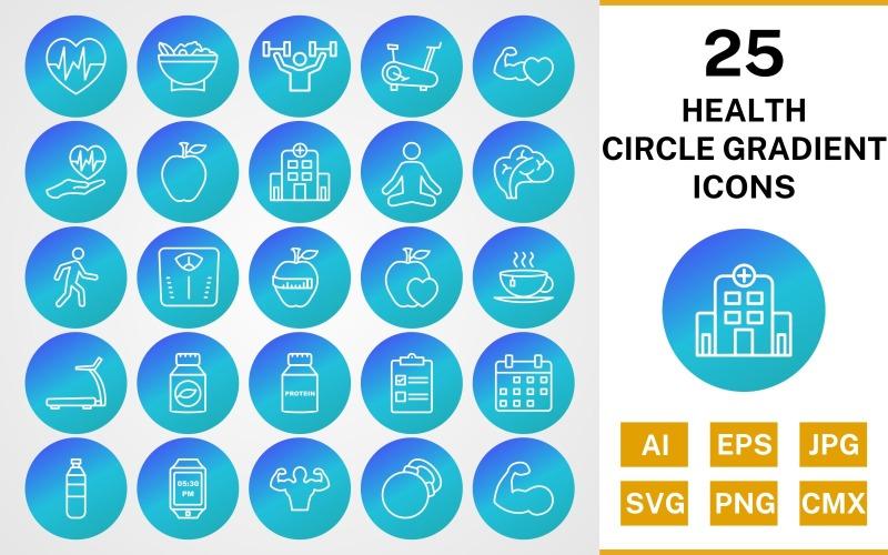 25 набор иконок градиента круга здоровья