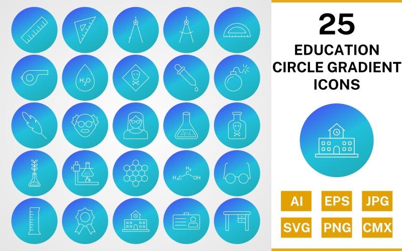 25 образовательных кругов градиентный набор иконок