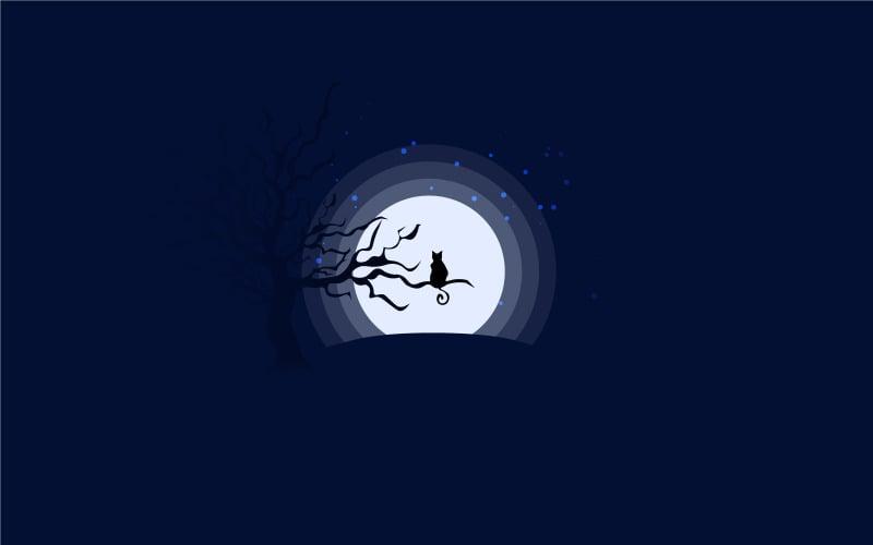 Cat Silhouette Under Moonlight - Illustration