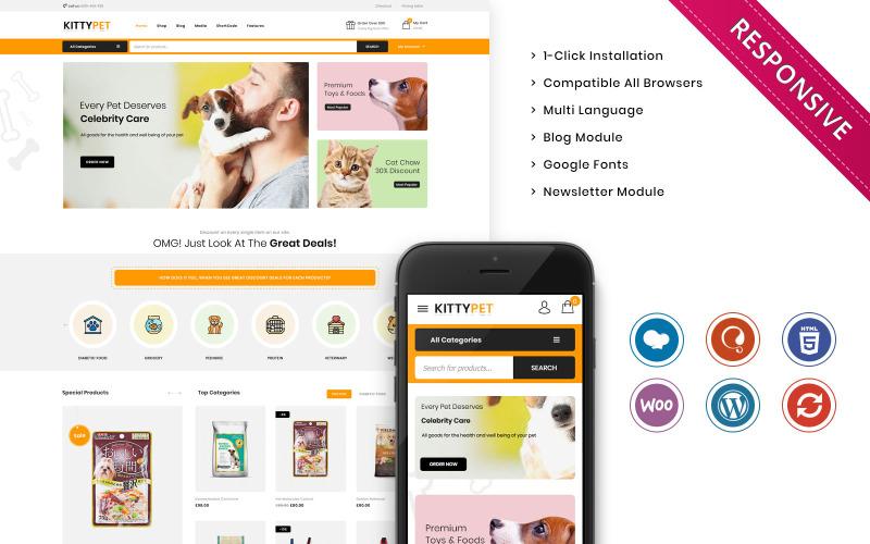 Kittypet - Duyarlı Evcil Hayvan Mağazası WooCommerce Teması