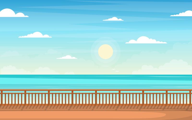Пейзаж синего моря - Иллюстрация