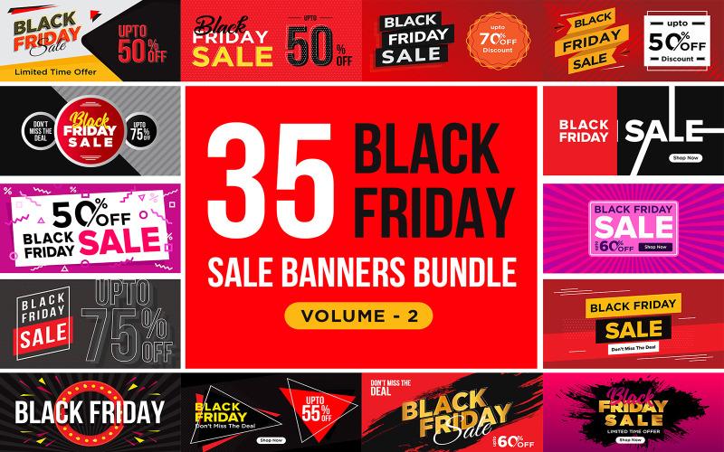 Баннеры распродажи в Черную пятницу V 2 Шаблон для социальных сетей