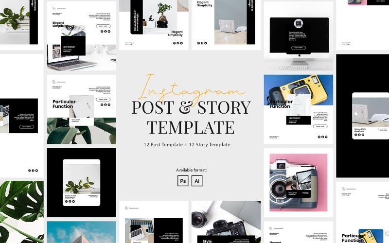 Элегантный бизнес-шаблон поста и истории в Instagram для социальных сетей